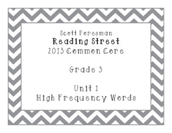 Reading Street Grade 3 Unit 1 High Frequency Words CHEVRON