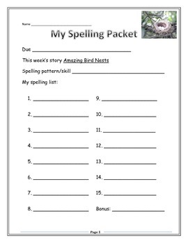 Reading Street Grade 3 Spelling Packet - Amazing Bird Nests