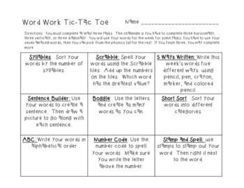 Reading Street Grade 3 Unit 1 3.1 Spelling / Phonics Word Work Activities