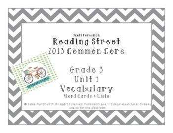 Reading Street Grade 3 Unit 1 Vocabulary Word and Definiti