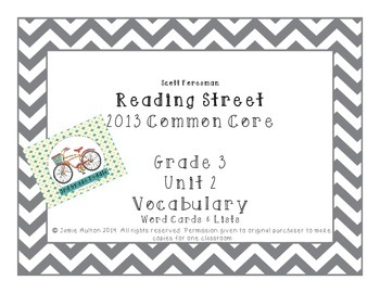 Reading Street Grade 3 Unit 2 Vocabulary Words and Definitions Chevron