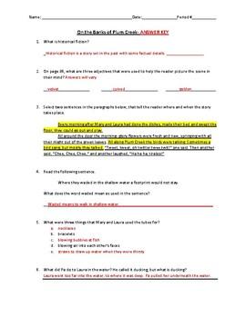 "Reading Street Grade 4 ""On the Banks of Plum Creek"" Worksheet"