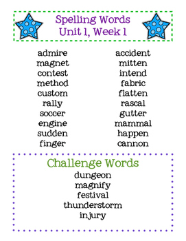 Reading Street Spelling Words Grade 4 Unit 1 Week 1 Freebie