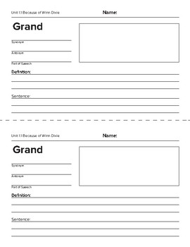 Reading Street Grade 4 Unit 1 Vocabulary Organizers
