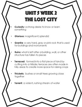 Unit 5 Week 1-5 Reading Street Grade 4 Vocabulary