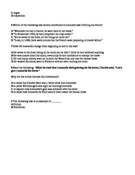 Reading Street Grade 5 Leonardo's horse Quiz Questions