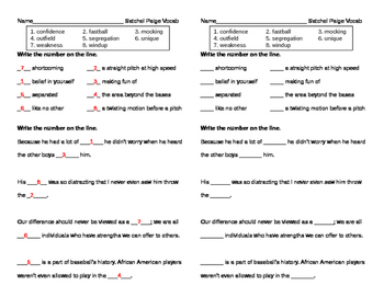 Reading Street Grade 5 - Satchel Paige Vocabulary Pretest