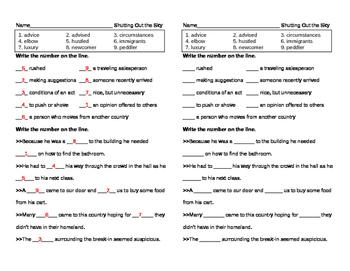 Reading Street Grade 5 - Shutting Out the Sky Vocabulary Pretest
