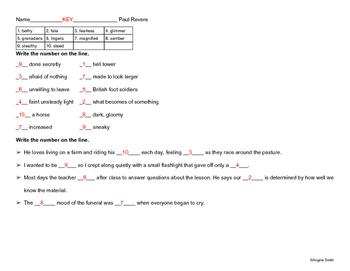Reading Street Grade 5 - The Midnight Ride of Paul Revere Vocabulary Pretest