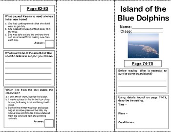 Reading Street Grade 5 Unit 1: Island of the Blue Dolphins Trifold