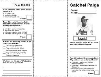 Reading Street Grade 5 Unit 1: Satchel Paige Trifold