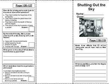 Reading Street Grade 5 Unit 1: Shutting Out the Sky Trifold
