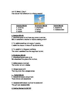 Reading Street, Grade 5, Unit 5, Week 1 (Day 1- Day 5)