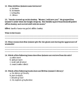 Reading Street Grade 6 Don Quixote Close read comprehension Quiz