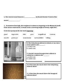 Reading Street Grade 6 The Lincoln Memorial Paired Passage When Marian Sings