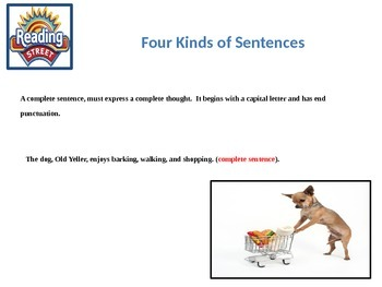 Reading Street Grade 6 Unit 1 Grammar and Conventions: Four Kinds of Sentences