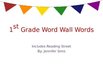 Reading Street High Frequency Word Cards