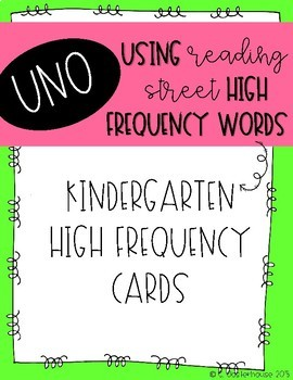 Reading Street High Frequency Words UNO