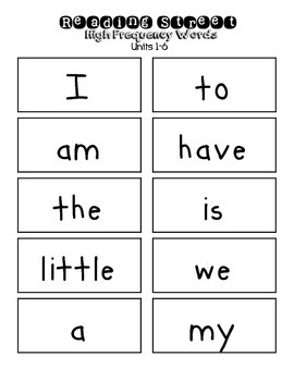 Reading Street High Frequency Words Units 1-5