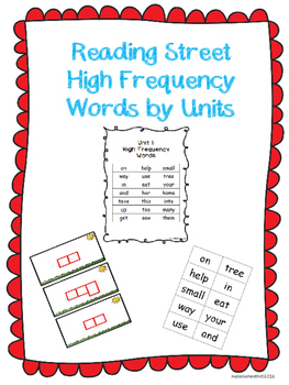 Reading Street High Frequency Words by Units