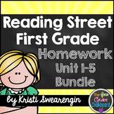Reading Street Homework Packet: First Grade Units 1-5 BUNDLE