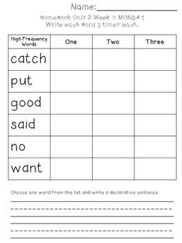 Homework Unit 2 First Grade