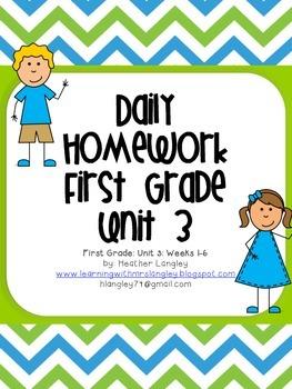 Homework Unit 3 First Grade