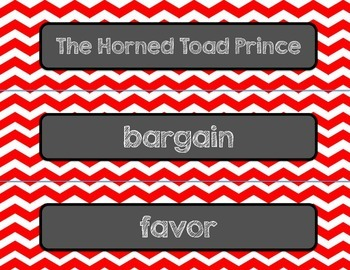 Reading Street-Horned Toad Prince and What Jo Did Word Wall Red Chevron Themed