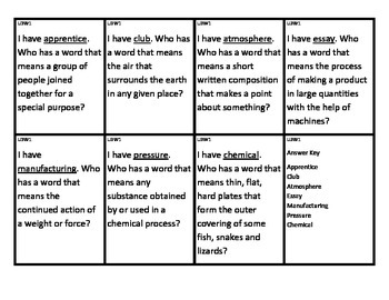 Reading Street I Have/Who Has Vocabulary Cards Unit 3