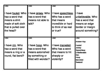 Reading Street I Have/Who Has Vocabulary Cards Unit 2