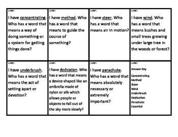 Reading Street I Have/Who Has Vocabulary Cards Unit 5