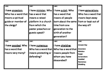 Reading Street I Have/Who Has Vocabulary Cards Unit 6