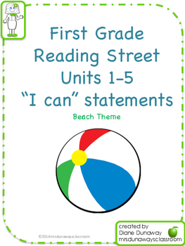 """Reading Street """"I can"""" statements for 1st grade - Beach"""