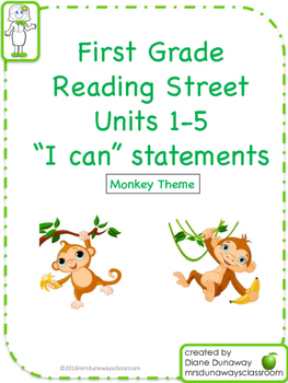 """Reading Street """"I can"""" statements for 1st grade - Monkey"""