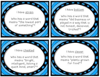 "Reading Street ""I have, who has"" vocab. cards - Grade 3, Unit 2"