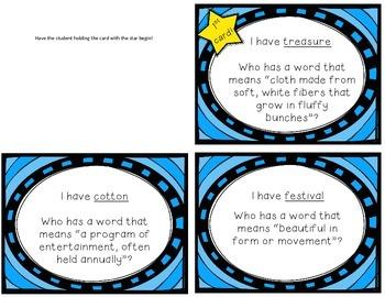 "Reading Street ""I have, who has"" vocab. cards - Grade 3, Unit 5"