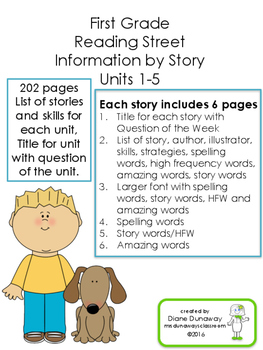 Reading Street Information Sheets for 1st grade FULL YEAR