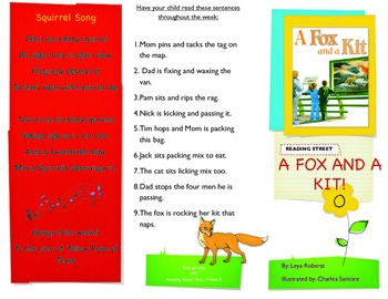 Reading Street- Informational trifold for A Fox and a Kit!