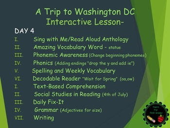 Reading Street Interactive Lessons (4 days) - A Trip to Washington DC