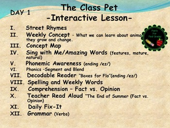 Reading Street Interactive Lessons (4 days) - The Class Pet - CUSTOMIZABLE