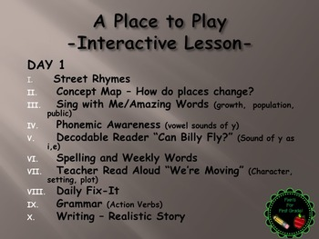 Reading Street Interactive  Lessons (4 days)  A Place to Play - CUSTOMIZABLE