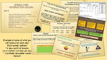 Reading Street Interactive Lessons (4 days) - Animal Park - CUSTOMIZABLE