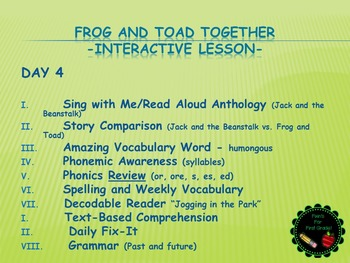 Reading Street Interactive Lessons (4 days) - Frog and Toad Together
