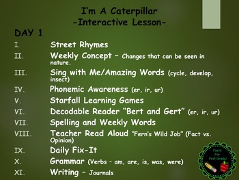 Reading Street Interactive Lessons (4 days) - I'm a Caterpillar - CUSTOMIZABLE