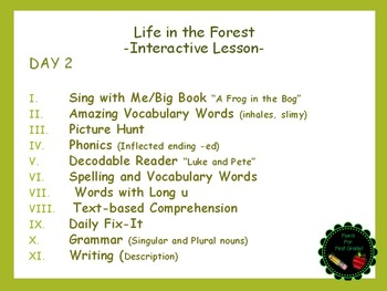 Reading Street Interactive Lessons (4 days) - Life in the Forest