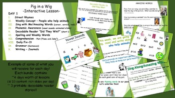 Reading Street Interactive Lessons (4 days) Pig in a Wig - CUSTOMIZABLE