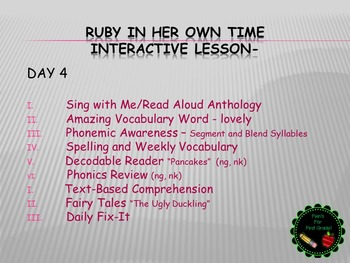 Reading Street Interactive Lessons (4 days) - Ruby in Her Own Time