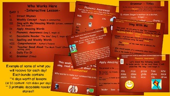 Reading Street Interactive Lessons (4 days) Who Works Here- CUSTOMIZABLE