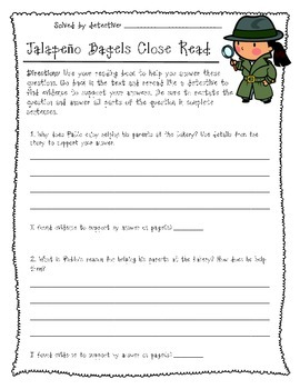 Reading Street: Jalapeno Bagels Close Reading Comprehension