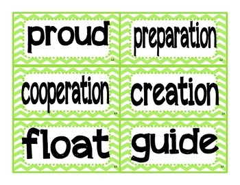 Reading Street Kindergarten Amazing Words and Sight Word Cards (GREEN)